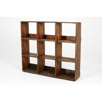 Rustic darkwood shelving unit