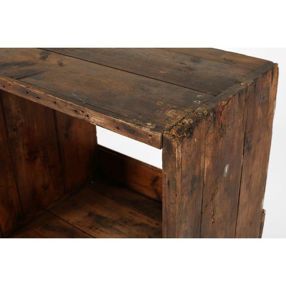 Rustic darkwood shelving unit image