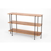 Modern tiered wooden shelving unit