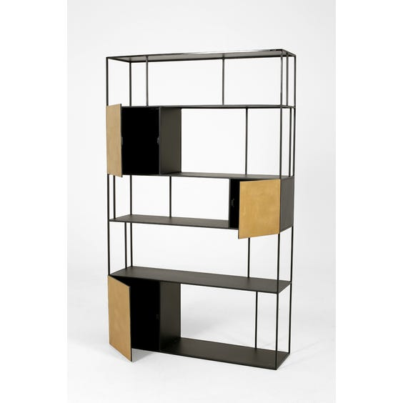 Black and gold shelving unit image