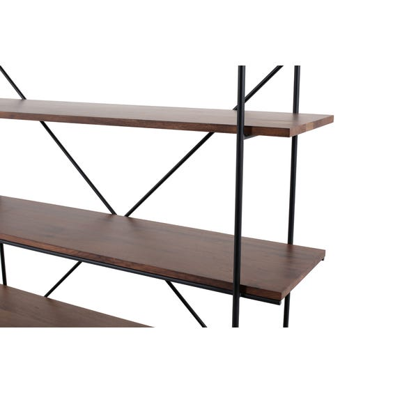 Walnut five tier shelving unit image