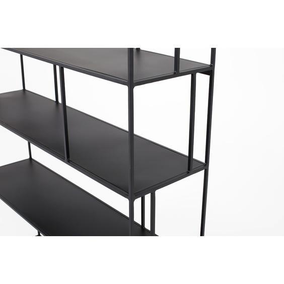 Modern tall black metal shelving unit image