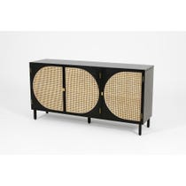 Modern ebonised rattan sideboard