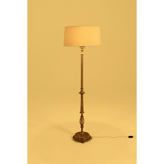 Period ornate ribbed brass floor lamp image