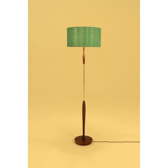 Teak turned wood floor lamp image
