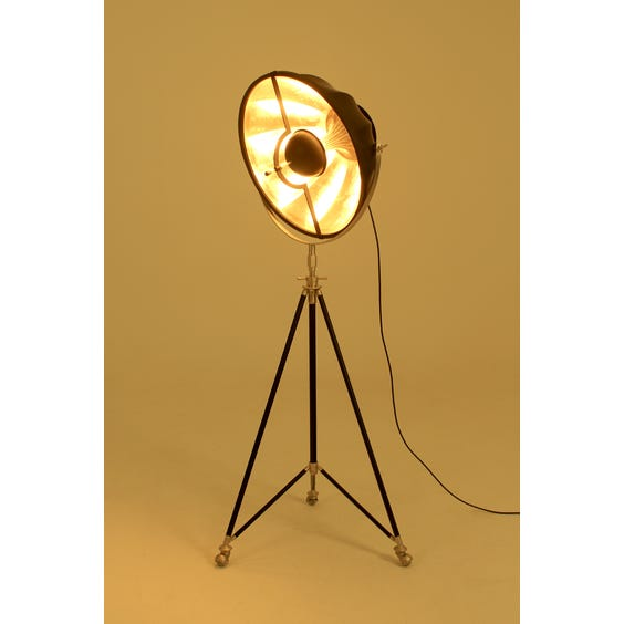 Matte black and gold Fortuny lamp image