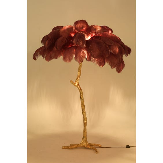 Dusky pink ostrich feather lamp image