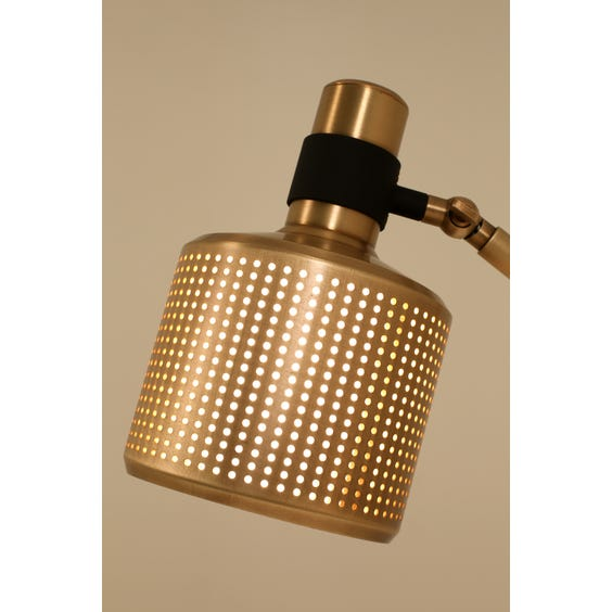 Midcentury perforated brass lamp image