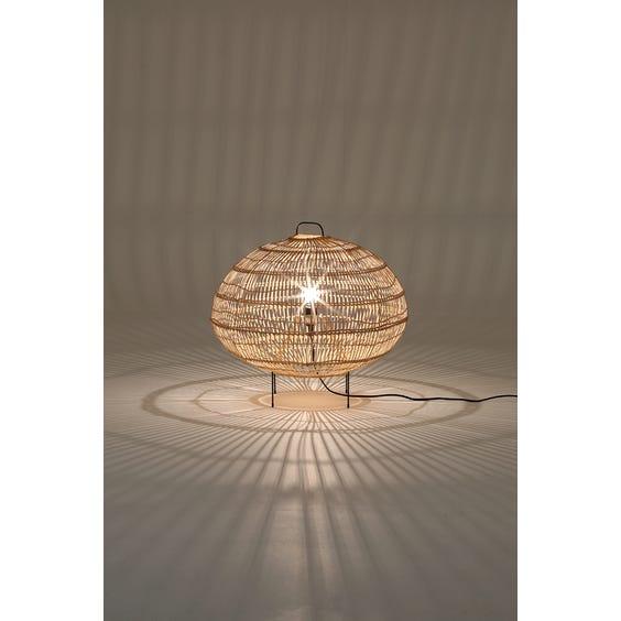 Woven wicker squat floor lamp image