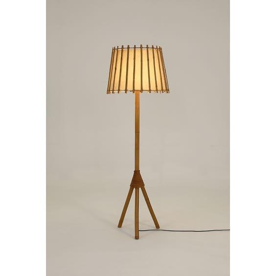 Midcentury rattan floor lamp image