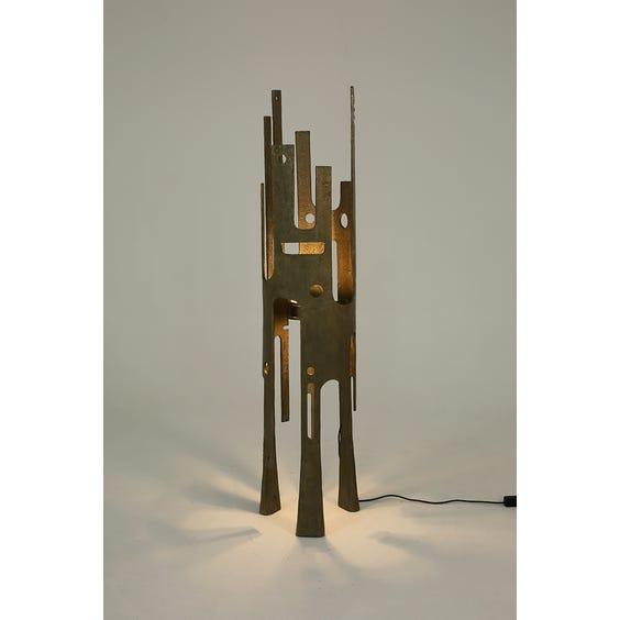 Midcentury bronze brutalist floor lamp image