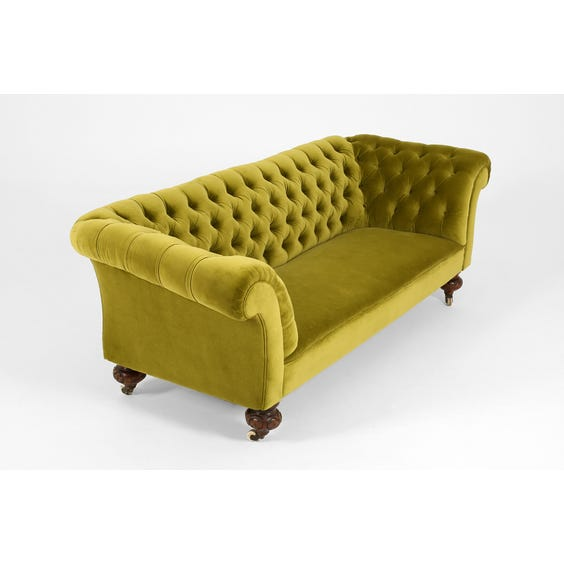 Victorian green velvet buttoned sofa image