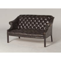 Small black leather buttoned sofa