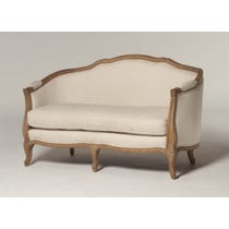 French cream linen carved sofa