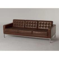 Brown leather Robin Day sofa