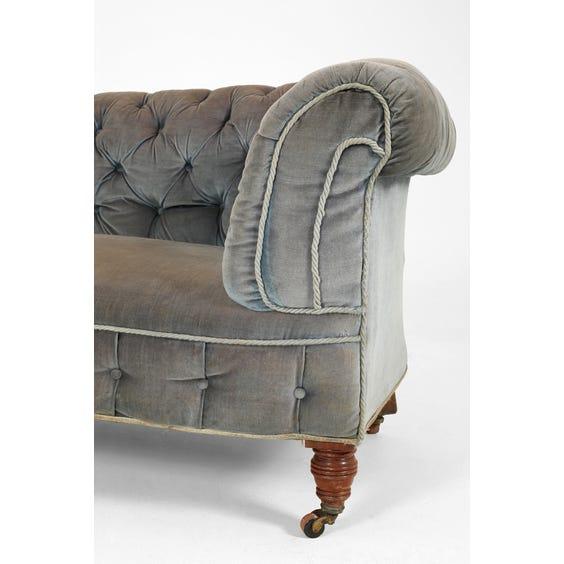 Vintage blue velvet Chesterfield sofa image