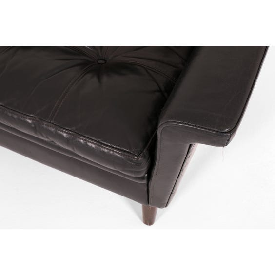 1960s Danish black leather sofa image