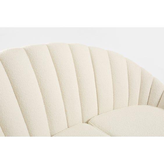 Off white boucle scalloped sofa image