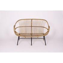 Vintage curved cane sofa