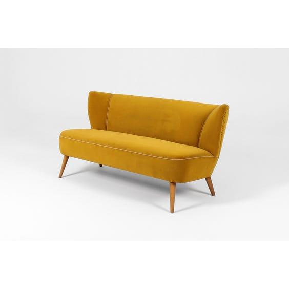 Midcentury ochre velvet sofa image