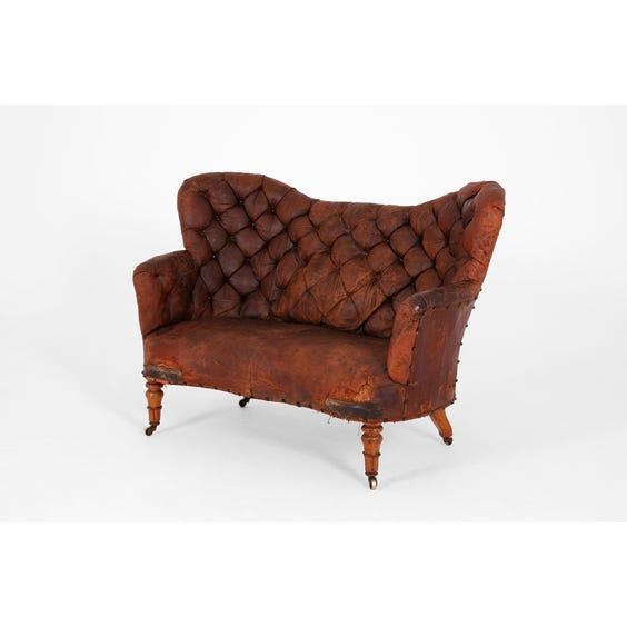 Georgian distressed tan leather sofa image