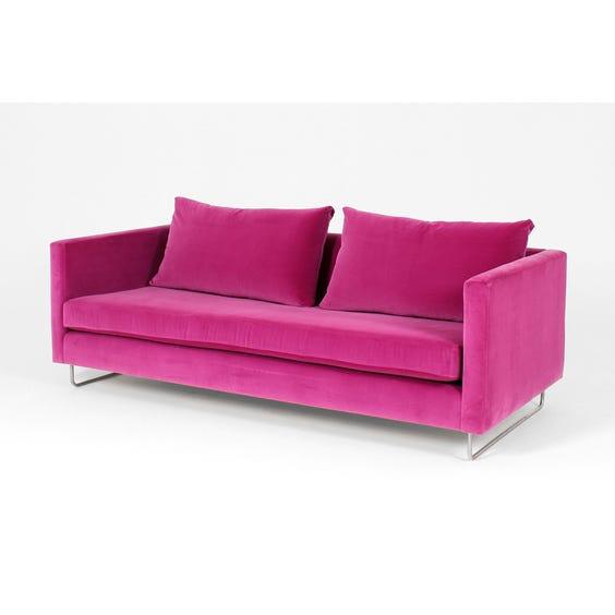 Modern hot pink velvet sofa image