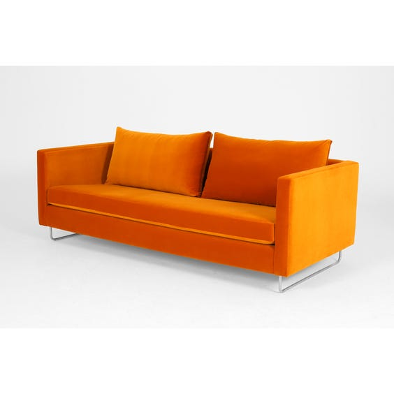 Modern orange velvet sofa image
