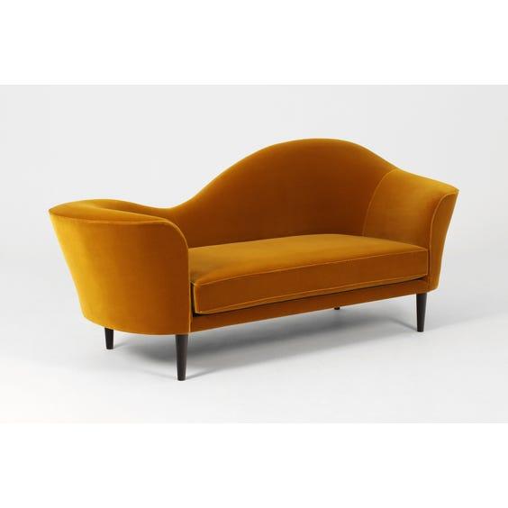 Mustard velvet wave back sofa image