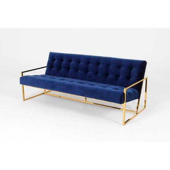 Midnight blue buttoned velvet sofa image