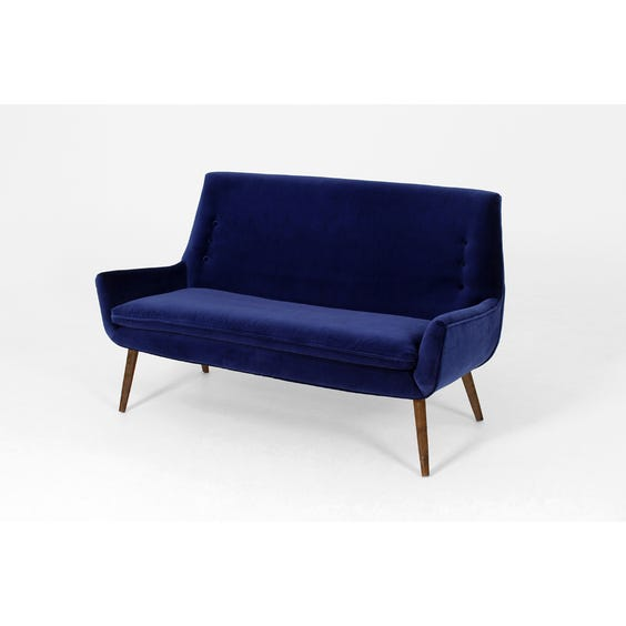 Midnight blue velvet two-seater sofa image