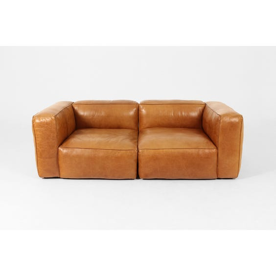 Vintage tan leather sofa image