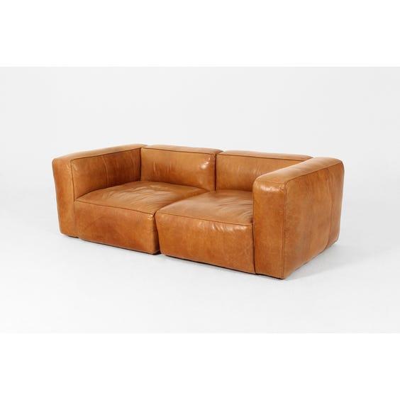 Vintage tan leather sofa image