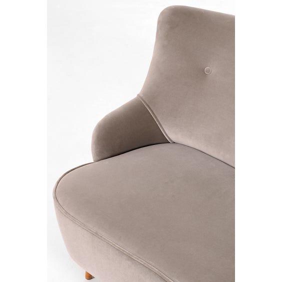 Midcentury mink grey velvet sofa image
