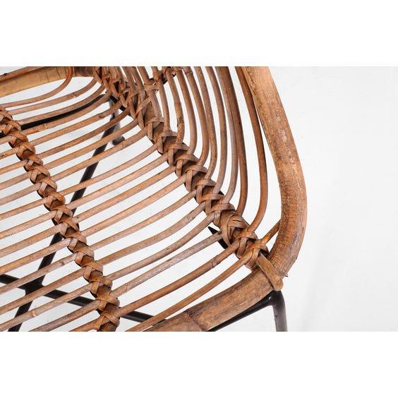 Midcentury spiral loop cane sofa image