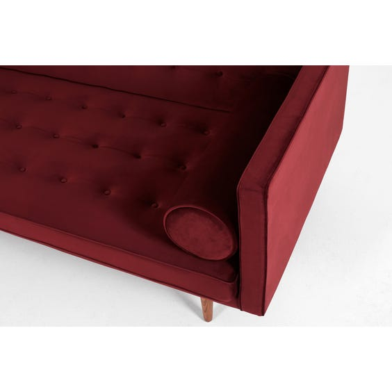 Midcentury plum red velvet sofa image