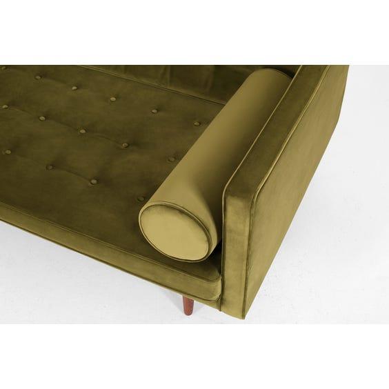 Midcentury moss green velvet sofa image