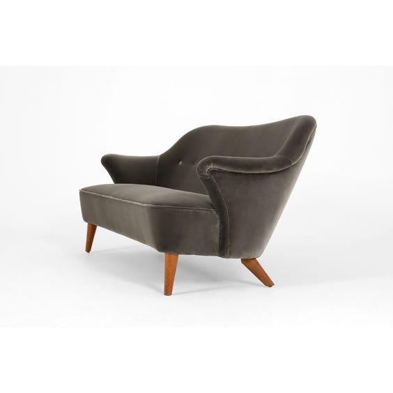 Midcentury graphite velvet sofa image