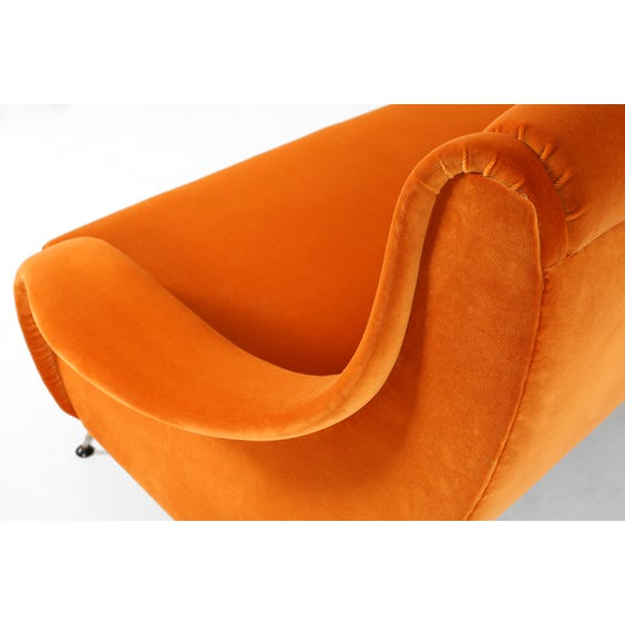 Midcentury orange velvet sofa image