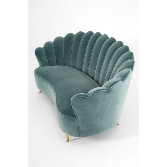 Midcentury scallop back sofa image