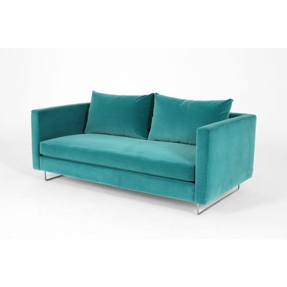 Modern teal velvet sofa image