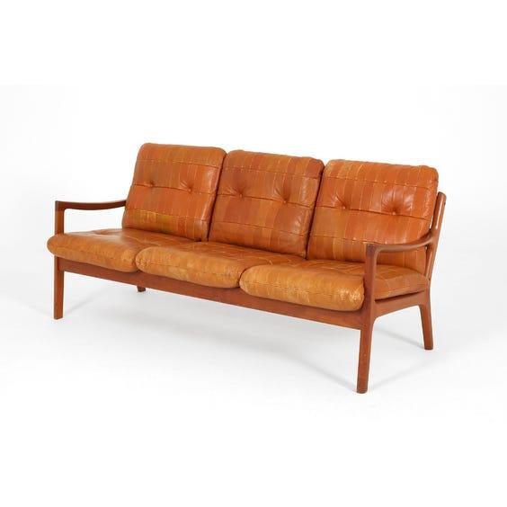 Midcentury Danish tan leather sofa image