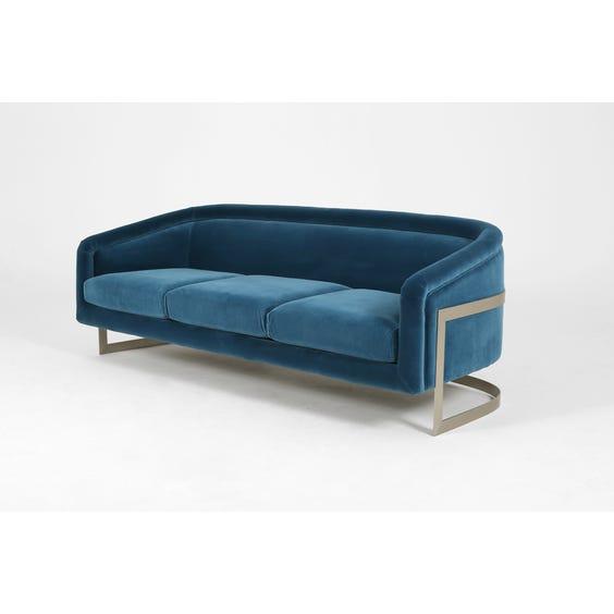 Blue velvet three seater sofa image