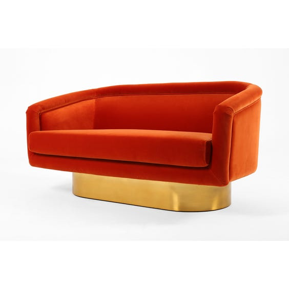 1970s orange velvet sofa image