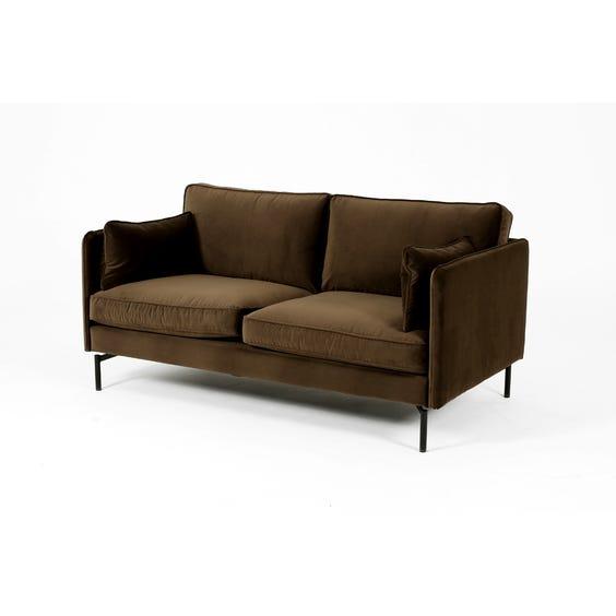 Moss brown velvet two seater sofa image