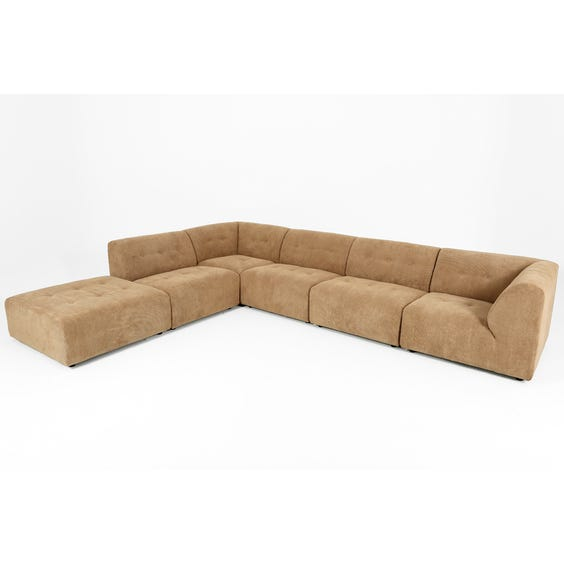 Biscuit corduroy modular L-shape sofa image