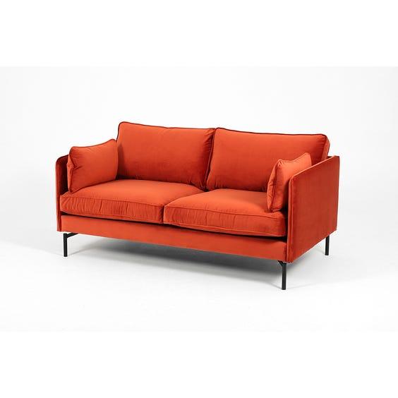 Modern rust red velvet sofa image