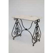 White marble decorative iron table