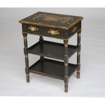 Tiered black gold side table