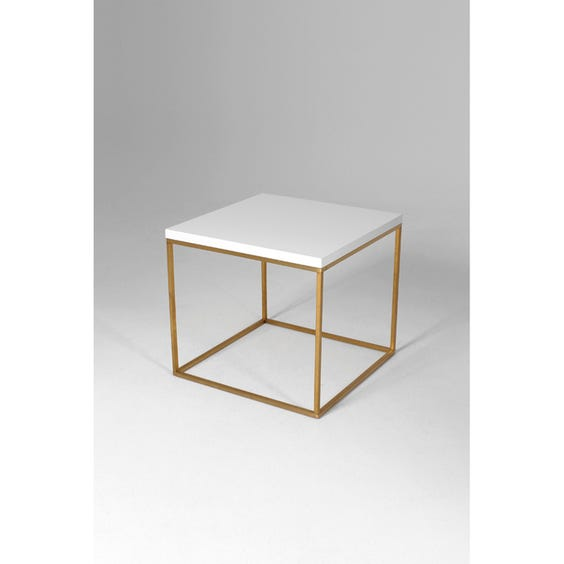 White lacquer gold side table image