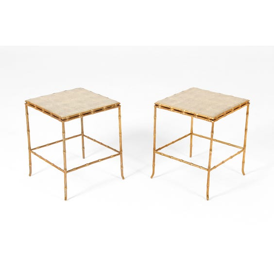 Brass bamboo shagreen side table image